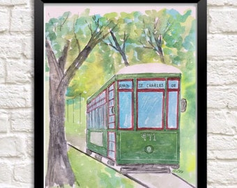 New Orleans art, Original watercolor painting, Streetcar PRINT, landscape, Pen and Ink accents, travel art, Tree painting, Louisiana art