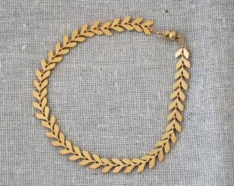 Chevron chain matte gold-plate bracelet
