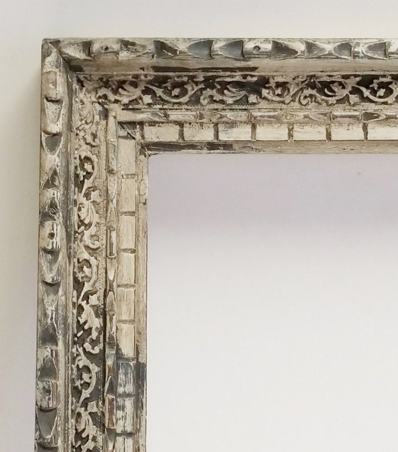 Wood Frame Large Ornate Vintage Hand Painted Aged Distressed Craved Scroll Details French Country Open Frame