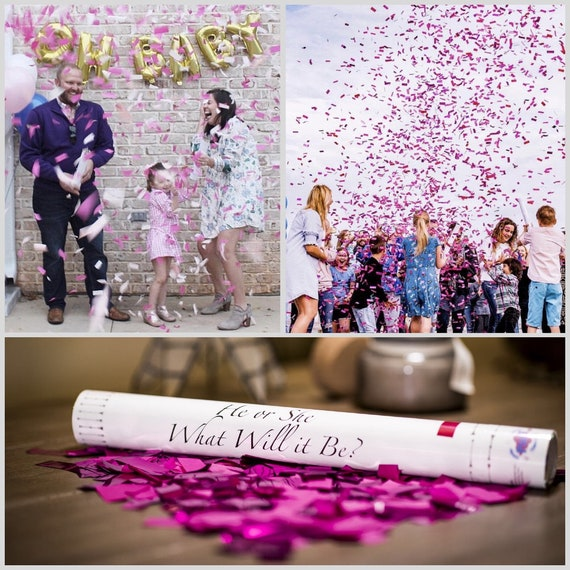 """18"""" CONFETTI CANNON Gender Reveal Pink, Blue, White Confetti Cannons! Unique Gender Reveal Idea! Confetti Poppers  Pregnancy reveal"""