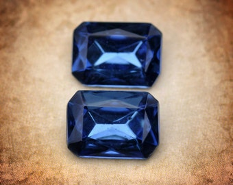 18xs13mm Montana Blue Sapphire Glass faceted Gems, Czechslovakia, Quantity 2
