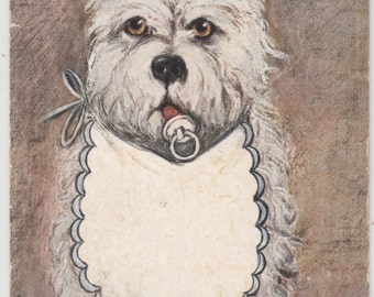 A/S Antique West Highland Terrier Dog/Puppy W Bib And Pacifiier