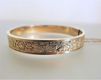 Vintage 12K GF Hinged Bangle Bracelet | Designer Winard Bracelet | 1940's Embossed Bracelet | Floral Bracelet | Gift Jewelry for Her