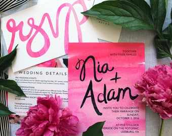 Pink Invitation Suite: Watercolor wash + abstract floral CUSTOM COLOR OPTIONS