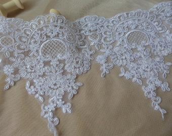 "WHITE Floral Lace Bridal Veil Alencon Lace Trim Bridal Wedding Gown Fabric 8.9"" Wide one yard"