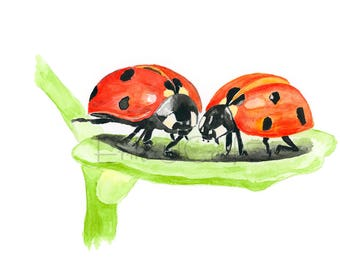 Two ladybugs on a leaf watercolor painting, watercolor print, ladybug, ladybird, home decor, art, nature, macro