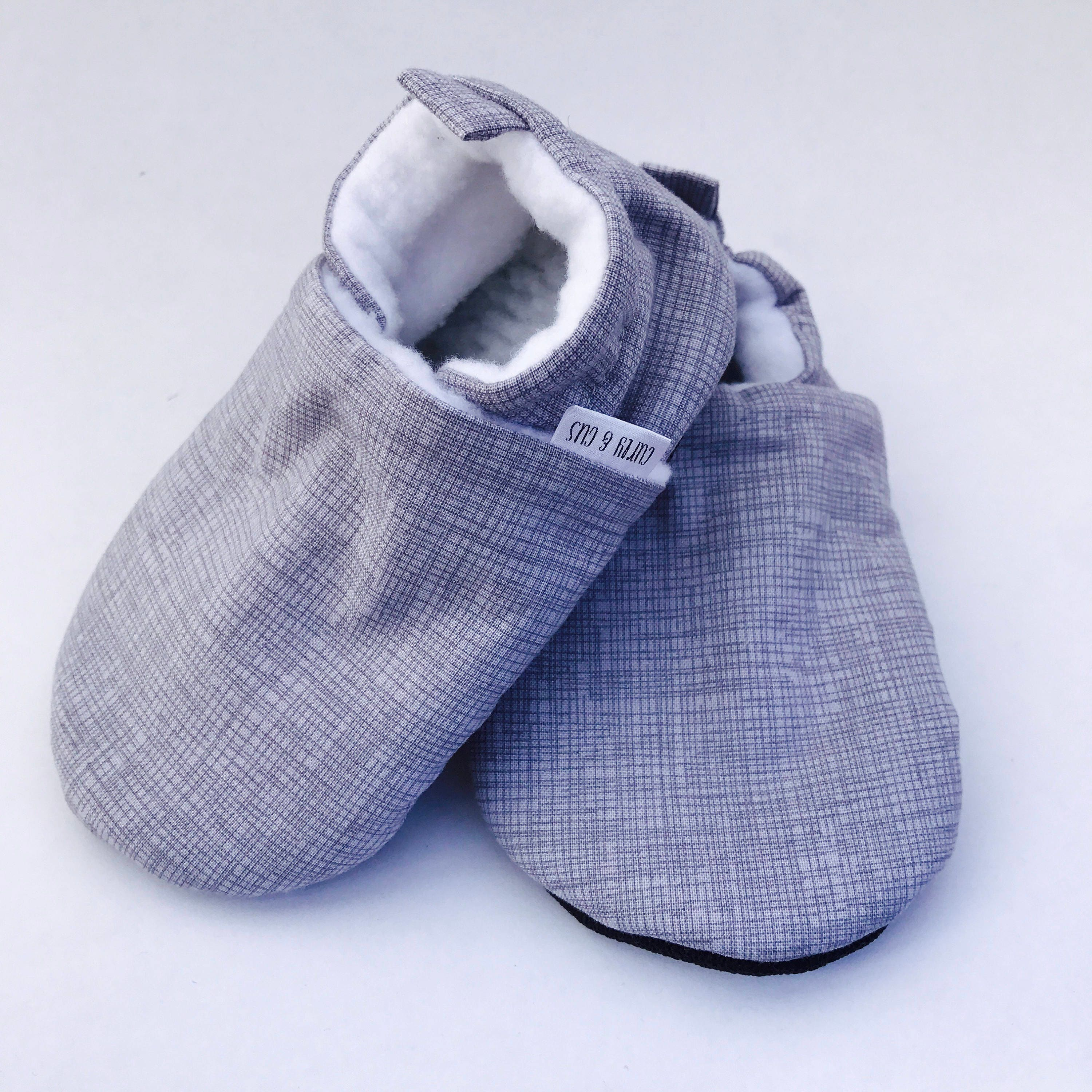 Gray Crosshatch Baby Shoes Baby Gift Soft Soled Baby Shoes