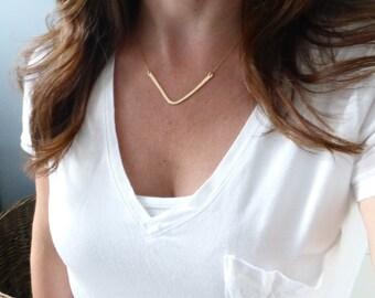 Large Chevron Necklace, Gold Chevron Necklace, Modern Necklace, Silver Chevron necklace, hammered chevron, hammered chevron, silver chevron