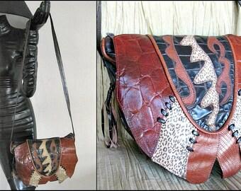 80s Tribal Purse / Vintage Collage Shoulder Bag / 80s wearable art Purse / Embossed lizard leopard alligator / Oversized tribal bag