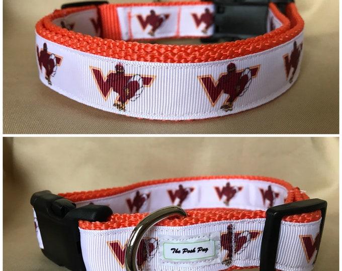 "Handmade White Hokie Fan 1"" Adjustable Dog Collar - MEDIUM"