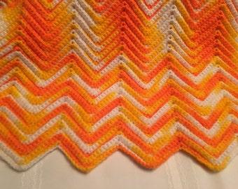Vintage Afghan / chevron afghan / yellow and orange chevron afghan blanket / yellow orange afghan / crocheted afghan