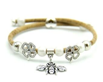 Lucky bee women leather bracelet