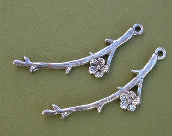 Antique Silver  Flower Branch Pendant Charm- 10 pcs.