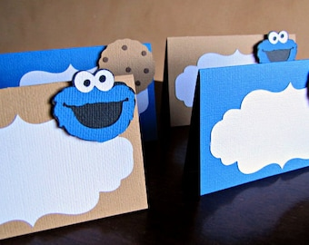 Cookie Monster Place Cards, Cookie Monster Food Labels, Cookie Monster Buffet Cards, Cookie Monster 1st Birthday, Sesame Street Place Cards