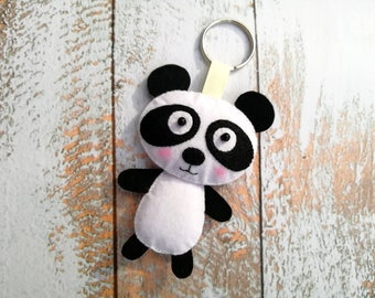 Charm accessories bag keyring Panda keychain for her Felt panda gifts for teens Felt animals Backpack accessory Friendship gift Small gifts