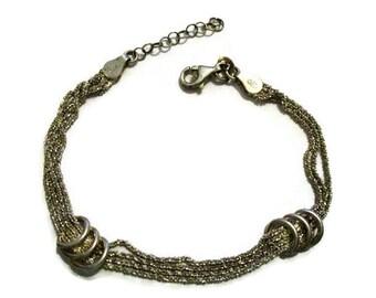 Vintage Sterling Sparkle Chain Bracelet Adjustable