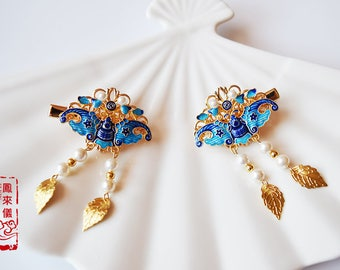 2 pcs Flyin Chinese cloisonne hair pin in Ming style, gold plated brass filigree,shell pearl tassel, Asian Chinese hair stick, hair clip
