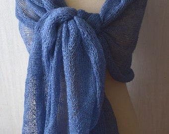 Blue Linen Shawl  Knitted Scarf Natural Summer Wrap Natural Flax