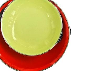 Mid Century Enamelware Pans Vintage Enamel Pans Skillets Decorative Enamel Cookware Mid Century Kitchen Decor Orange Yellow Sizzling Servers