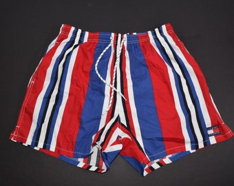 Vintage 90s Tommy Hilfiger Striped swimming trunks mens Large spell out swim shorts