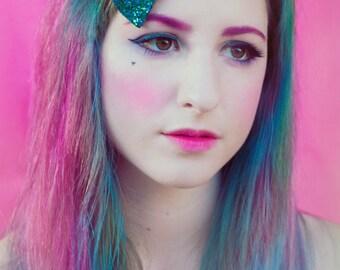 Peacock Glitter Hair Bow, Sparkly Glitter Bow, Party Hair Bow, Blue and Green Glitter Hair Bow