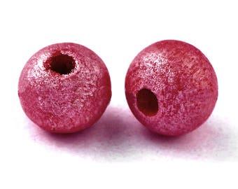 10 x beads wood 6 mm red metallic