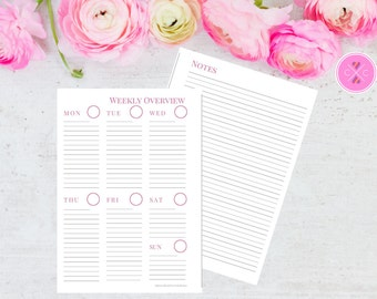Pink Weekly Planner - Week on One Page + Grid Notes, Pink WO1P Planner - Vertical Weekly, Printable Planner, A5 Planner Insert, WO1P