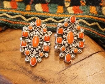 Navajo Coral Cluster Sterling Silver Earrings