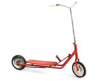 1950 Rare Vintage French Childs Toy Scooter - Red Metal