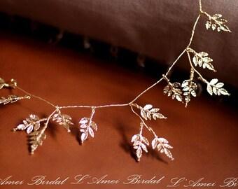 Woodland Queen Golden Wedding Bridal Tiara Headpiece with  gold leaf ,Bridal leaf hair vine -Bridal headpiece - Greek goddess hair accessory