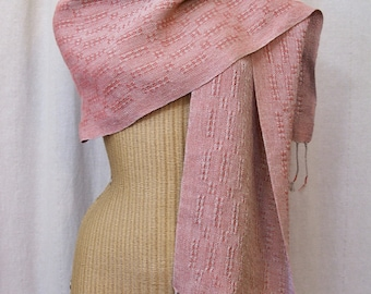 Coral Linen Lace Scarf Handwoven Table Runner LS07