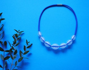 3D printed Bead Necklace, Recycled PET Bottles and Blue Paracord Rope Neckace