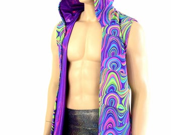 Mens Open Front Hooded Vest in Neon UV Glow Worm & Grape Purple Holographic Rave Festival Apparel 154339