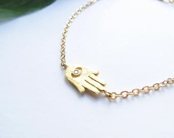 Gold Hamsa Bracelet, Delicate Everyday Bracelet, Stacking Bracelet, Minimalist Bracelet, Dainty Bracelet