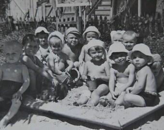 Soviet vintage photo, Original Antique Photo, Kindergarten photograph, Black and white, Vintage children photo, Antique child photograph