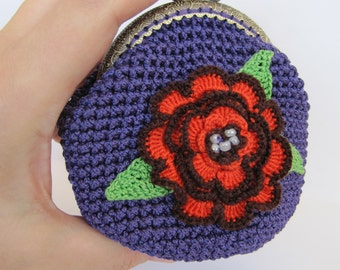 pouch crochet wife gift coin purse small bag gift mother day gift women change purse violet girlfriend gift for her kisslock metal frame
