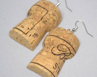 Upcycled Champagne Cork Earrings