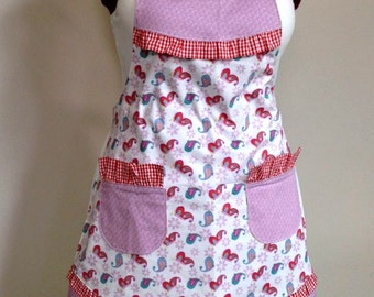 Womens Full Apron, Country Style Ruffle Apron in purple and red, Bib Apron Fully Lined with Red Gingham Ruffle, Sweet Prairie Apron