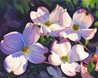 Pink Dogwoods Watercolor Painting Print by Cathy Hillegas, 16x22 floral watercolor, watercolor print, dogwood art, mothers day gifts for mom