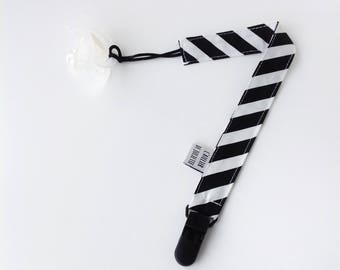 Black & white striped pacifier clip