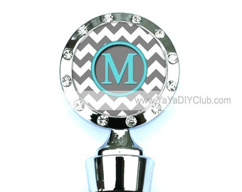 Personalized Wine Stoppers, Monogram Wine Stopper - Gray Chevron Pattern Initial Monogram Tiffany Blue or Custom Color