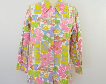 on sale Vintage HER MAJESTY hippy boho LOVE them floral top shirt jacket usa made