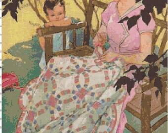 Vintage Springtime Sewing Counted Cross Stitch Pattern PDF Chart by Bella Stitchery