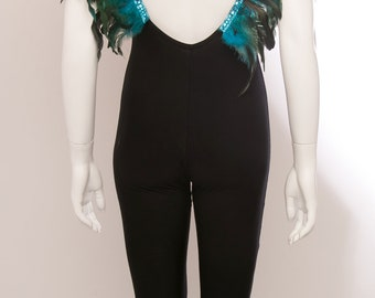 Festival backless catsuit with removable feather straps
