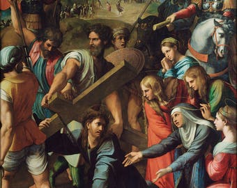 Poster, Many Sizes Available; Jesus Christ Carrying Cross On The Way To Calvary By Raphael