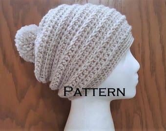 Crochet PATTERN Chain Ridge Beanie Pom Pom Slouchy Hat Pattern DIY