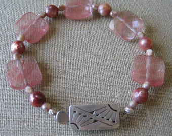 Strawberry Quartz and Freshwater Pearl with Fancy Sterling Clasp Strung Bracelet