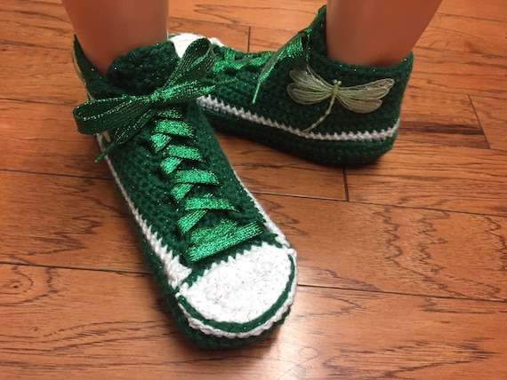 dragonfly 360 Listing 10 sneakers slippers shoes 8 slippers slippers tennis Crocheted green sneaker dragonfly tennis shoes Womens crocheted xY4wqAwR