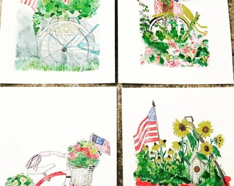 Americana Series Watercolor Set of 4