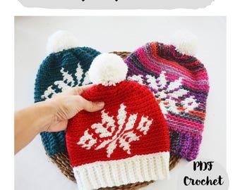 Patrón Ganchillo Crochet Tutorial Paso a Paso Gorro Navidad Estrella Fair Isle con Pompon, con video tutorial, todas las medidas